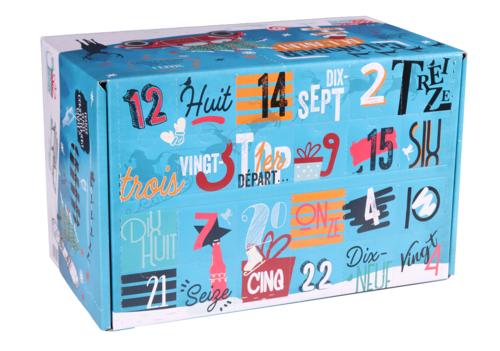 Image du produit Caisse Calendrier de l'avent Santa Ana 21 carton décoré bleu Noel 24 bières